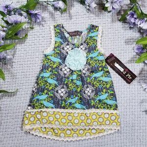 Mustard Pie flower & bird Adelaide top/dress